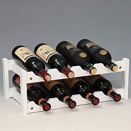 PDXGZ Botellero de Madera de bambú – Vinoteca para 8/12/16 Botellas – Soporte para Botellas de Vino, Agua y refrescos, Ideal para frigorífico, despensa o armarios de Cocina – Blanco