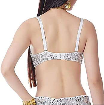 Gift Idea-Gold 34A 34B BellyLady Belly Dance Tribal Sequined Bra Top