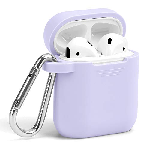 Airpods Case, GMYLE Silicone Protective Shockproof Wireless Charging Airpods Earbuds Case Cover Skin with Keychain kit Set Compatible for Apple AirPods 1 & 2 - Lavender Purple