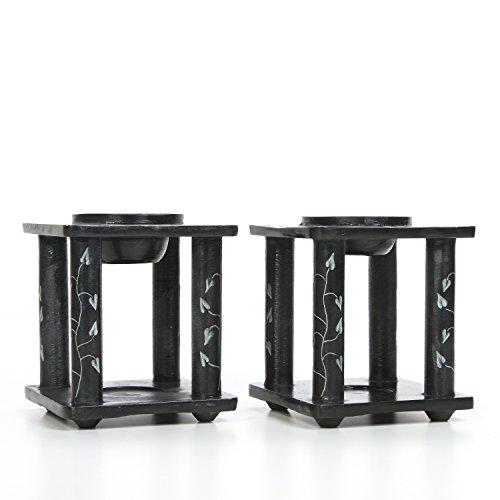 Hosley Set of 2 Black Soapstone Oil Burner- 4