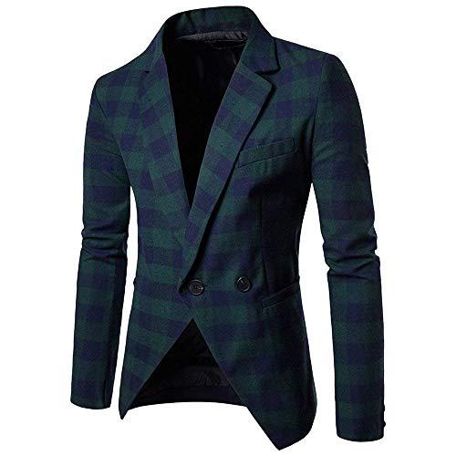 Knop Manches Longues Homme Fit Casual À Men Carreaux Chaud Vestes Slim Automne Revers 1 Retro Blazer Grün Printemps Costume Iw8Z8q