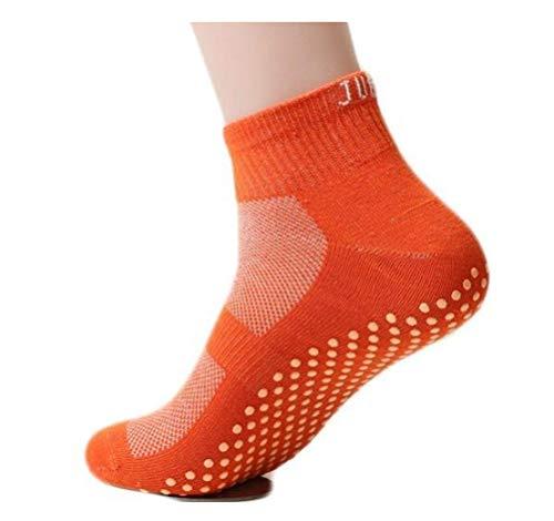 Calcetines antideslizantes, para la familia, yoga, cama elástica, uso sin zapatos en casa, Anaranjado, SMALL (15 cm / 5.9...