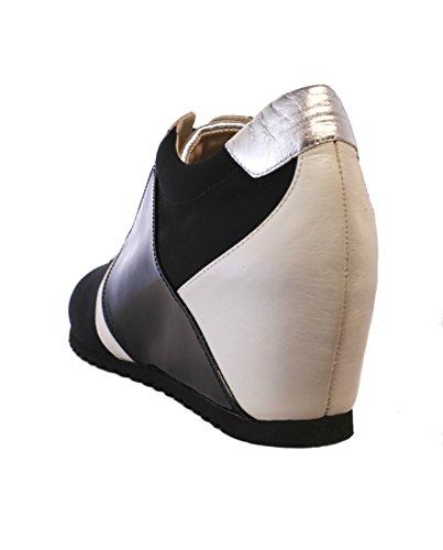 Passione di Gina LA-Chic Fashion Sneaker in Italian Leather and stretch microfiber, in Black & White. by Passione di Gina Made With Love In Italy (Image #2)