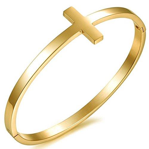 Womens Simple Style 18K Gold Bracelet Cross Shape Stainless Steel Bangle Cuff Lady Wrist Band High Polish