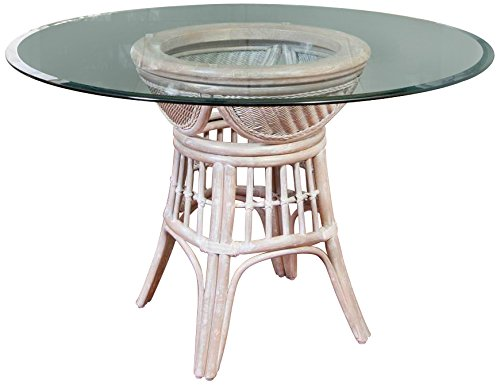 Alexander & Sheridan BER012-RWD-GL48R Bermuda Dining Table Base in Rustic Driftwood Finish with Round Tempered Bevel Edge Glass, 48