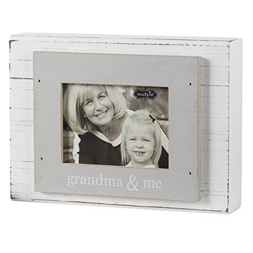 Mud Pie Grandma and Me Frame, Gray/White, 3'' x 4'' by Mud Pie