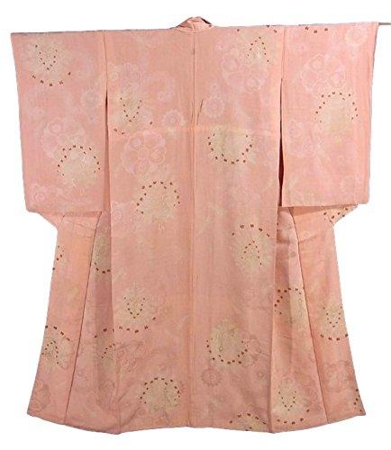皮肉欠かせないオーバーランアンティーク 着物 孔雀の意匠 正絹 袷 綸子 一つ紋 裄62cm 身丈149cm