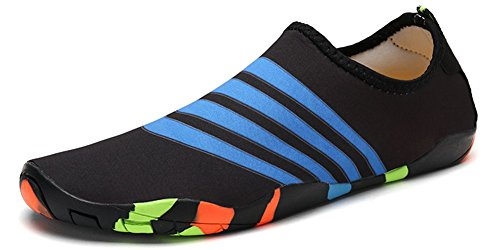 Eagsouni Barefoot Water Shoes Mens Womens Quick Dry Aqua Socks for Unisex Adults and Kids Beach Swim Surf Yoga Sports Driving Garden Running Walking Park Lake Boating Black-187 Cgu6Efjdx