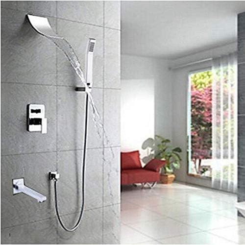 ZYL-YL 設定した新しい浴室浴槽シャワーの蛇口クロームミキサーの滝タップつのハンドルウォールマウントシャワー