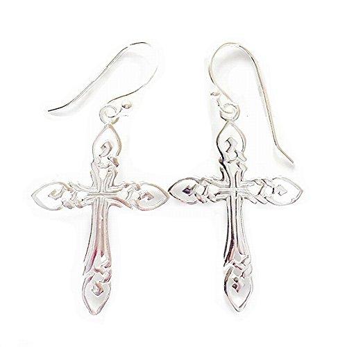 Earrings Cross Fish - 925 Solid Sterling Silver Filigree Cross Earrings for Women - Dangling Christian Allergy Free Jewelry