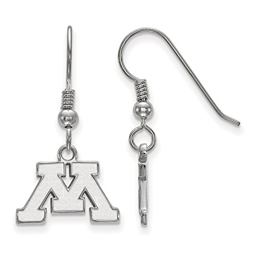 925 Sterling Silver Officially Licensed University College of Minnesota Mini Small Dangle Wire Earrings (10 mm x 15 mm) by Mia's Collection