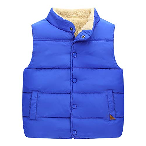 Kids Soft Cotton Windproof Warm Casual Daily Standing Collar Outdoor Vest Jacket Outwear 4-5T Blue