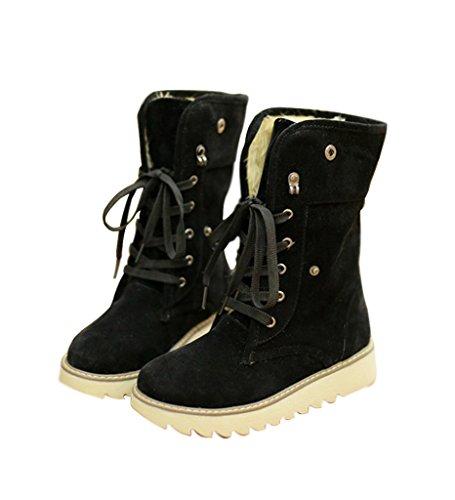 Minetom Damen Stiefeletten Matte Stiefel Schnee Winter Fur Boots Winterstiefel Warm Casual Flats Bequeme Boots Schwarz