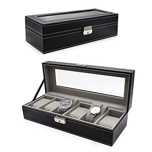 VEEAPE Watch Box, 6 Slots PU Leather Case Organizer Glass Top for Storage and Display, Black by VEEAPE