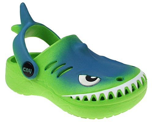 Capelli New York Toddler Boys Cool Shark Clog with Backstrap Lime 5