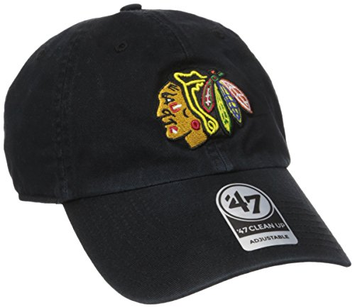 79cb6df8667d8 47 Brand H-RGW04GWS-BK NHL Chicago Blackhawks Clean up Adjustable Cap (Black