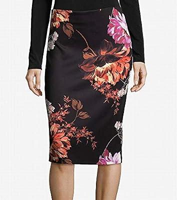 eci Womens Floral Printed Scuba Skirt