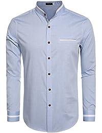 Men's Casual Long Sleeve Stand Collar Button Down Shirt