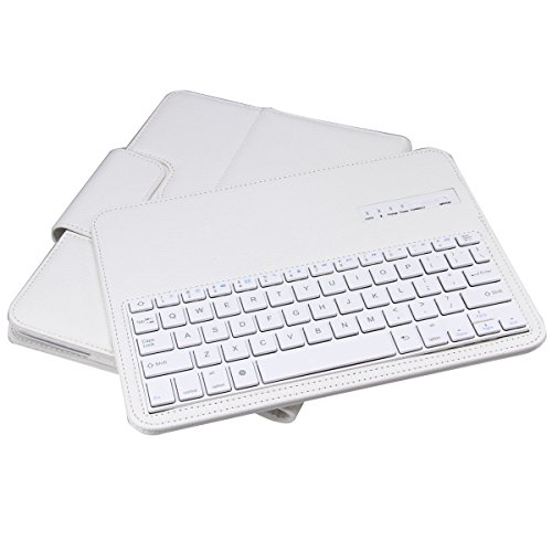 NEWSTYLE White Ultra Slim Detachable Removable Bluetooth Keyboard Leather Case Cover For Samsung Galaxy Tab 4 10.1 inch Tablet - SM-T530 SM-T531 SM-T535