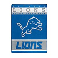 """Officially Licensed NFL Detroit Lions """"12th Man"""" Plush Raschel Throw Blanket, 60"""" x 80"""", Multi Color"""