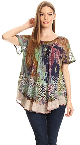 Manches Flowy Top Violet Dye Batik Blouse Menthe Paysan Sara Courtes Broderie Sakkas Womens Tie qwEAYqI