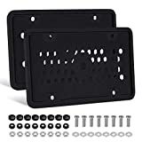 EletecPro Silicone License Plate Frame Cover 2 Pack,Car Plate Cover with 12 Drainage Holes,Anti-Impact, Waterproof, Shockproof Fits Any Standard US Plats Screw Caps Included