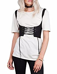 Sexyshine Women's Tank Tied Lace Up Corset Denim Wide Waist Cincher Belt Corset
