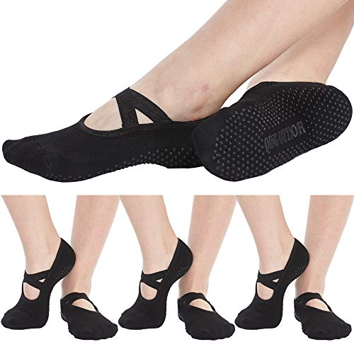 Women's No Show Low Cut Hospital Slipper Socks Great for Barre Pilates Yoga with Non Skid Grips Pack of 3
