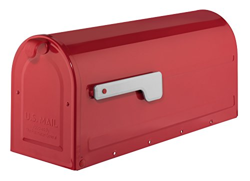 Architectural Mailboxes 7600R MB1 Post Mount Mailbox Red with Silver Flag MB1 Post Mount Mailbox, Medium Additional Mailboxes