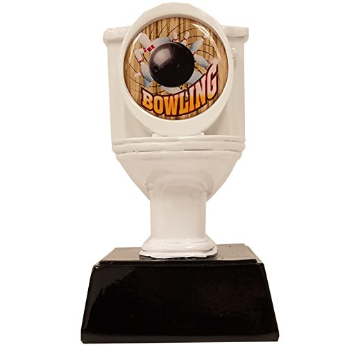 Decade Awards  Bowling Toilet Bowl Loser Trophy - White  Last Place Award | 6 Inch Tall - Free Engraved Plate on Request Exclusive