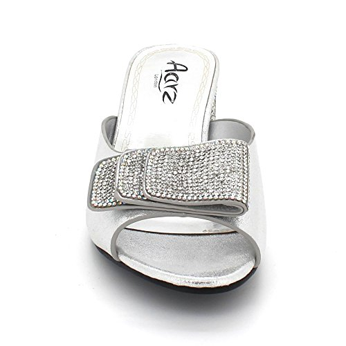 AARZ LONDON Womens Ladies Crystal Diamante Evening Wedding Party Bridal Prom Slip On Block Heel Sandals Shoes Size Silver AQe0YOx5