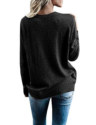 Paris Hill Womens Knitted Deep V-Neck Long Sleeve Wrap Front Loose Sweater Pullover Jumper Tops Black Small by Paris Hill (Image #5)