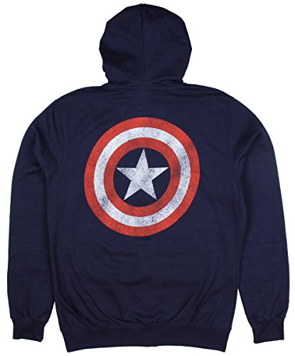 Marvel Captain America Distressed Shield Zip Hoodie (Medium) (Captain America Hoodie With Mask compare prices)