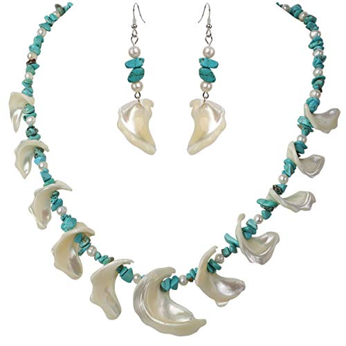 Earrings Mother Turquoise Of Pearl (YACQ Freshwater Pearl Mother of Pearl Turquoise 925 Sterling Silver Necklace Dangle Earrings Handmade Jewelry Sets for Women Teen Girls 20