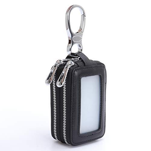 MuLier Genuine Leather Sheepskin Weave Pattern Key Chain Holder Case Car Key Pouch ID Window Key Wallet Black (Double Fob Key)