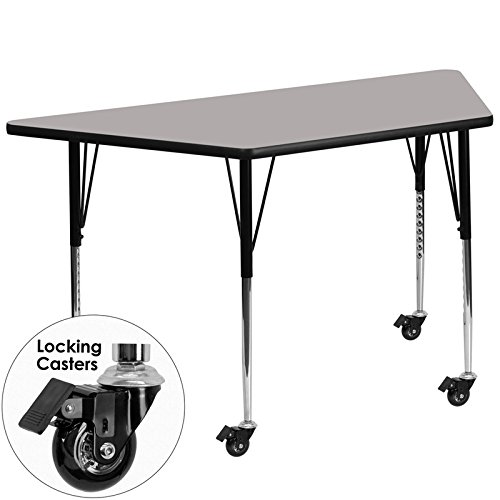 Flash Furniture Mobile 30''W x 60''L Trapezoid Grey HP Laminate Activity Table - Standard Height Adjustable Legs
