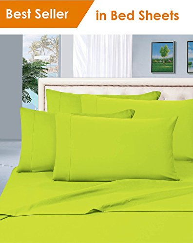 - MattRest Luxury Silky-Soft 1800 Series Premium Collection - Wrinkle-Free 3-Piece Bed Sheet Set, Deep Pocket up to 16 inch, Twin Lime