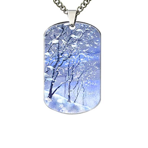 Personalized Military Army Style Aluminum Dog Tag ID Pendant Necklace/Rectangle Dog Tag Keychain (Christmas Winter Scenes)