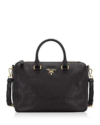 (Prada Bauletto Women's Black Nero Vitello Phenix Handbag 1BB023)