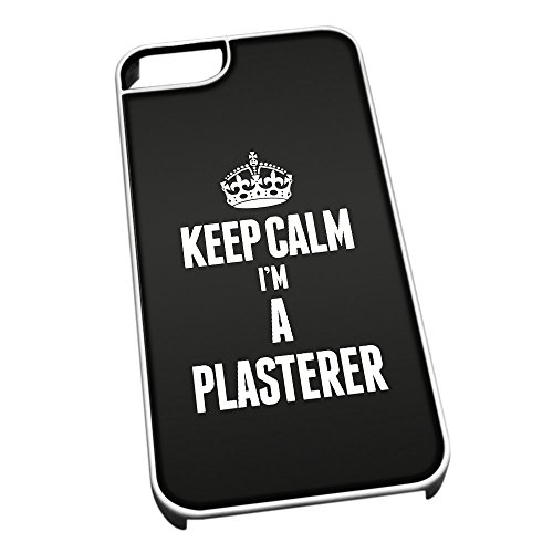 Bianco cover per iPhone 5/5S 2648 nero Keep Calm I m A stucco