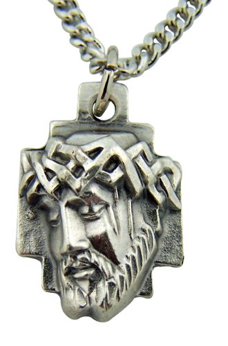 Silver Toned Base Crown of Thorns Head of Jesus Christ Cross Medal, 1 (Jesus Christ Head)