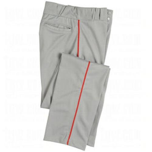 CHAMPRO Youth Sports Pro-Plus Open Bottom Pants with Piping, Grey/Red, Medium