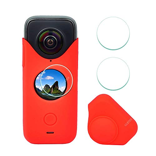 funda + 2 protectores de lentes para Insta360 One X2 rojo