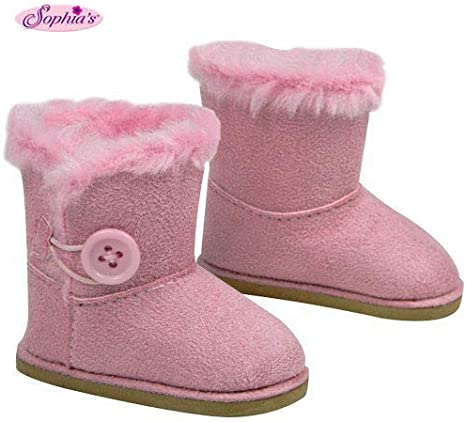 """**SALE** LAVENDER Fur-Trim EWE Button DOLL BOOTS SHOES fits 18/"""" AMERICAN GIRL"""