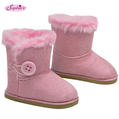 Pink Doll Shoes - Stylish 18 Inch Doll Boots. Fits 18
