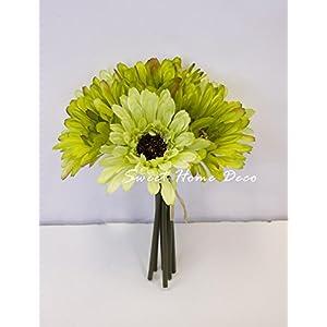 Sweet Home Deco 8'' Silk Artificial Gerbera Daisy Flower Bunch (W/ 7stems, 7 Flower Heads) Home/Wedding 2