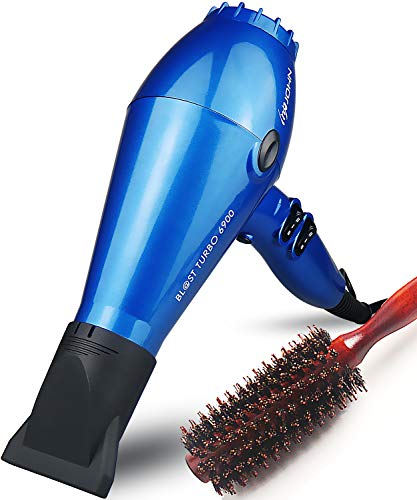 JOHN 2200Watt Powerful Salon Use Ceramic Ionic Hair Dryer with Brush Fast Drying Professional Blow Dryer AC Motor 2 Concentrator Nozzles Blast Turbo 6900 Glossy Blue
