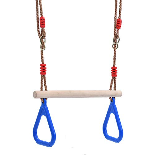 Beautyer Kids Wooden Swing Hoop Outdoor Trapeze Bar Swing with Rings for Climbing Frames and Garden Swings Blue
