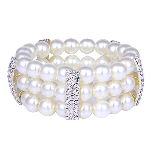ROFIFY Womens Simulated Pearl Rhinestone Bangles Wrap Around Stretch Bracelet FJ19 ()