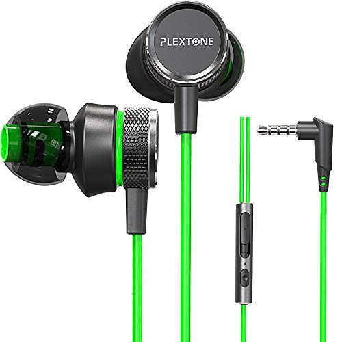 Gaming Earphones,Pasuwisma Earbuds Wired Stereo Bass in-Ear Headphones E-Sport Noise Cancelling Compatible with Mic, HiFi with Extension Cable and Adapter for PC, Laptop and Cellphones. (Green)